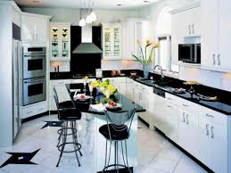 Adorable Contemporary Black And White Kitchen Decor Idea With Breakfast Nook Chairs