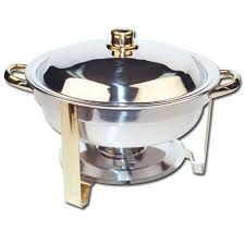 Round Chafing Dish W Gold Accents 4 Qt 1200