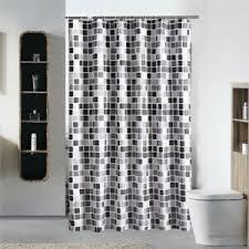 details zu schwarz weiss grau plaid badewanne badezimmer stoff duschvorhang wasser e7l1