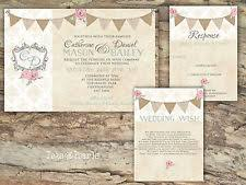 PERSONALISED RUSTIC BUNTING DAMASK ROSE WEDDING INVITATIONS PACKS OF 10