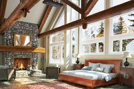Luxurious Open Floor Cabin Interior Bedroom Design With Roaring
