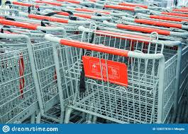 100 Kmart Astor Place Hours Shopping Carts Lined Up In A Cart Corral Carts Are Empty