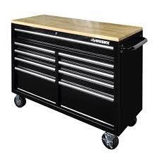 100 Husky Tool Box Truck 46 In 9Drawer Mobile Workbench With Solid Wood Top Black
