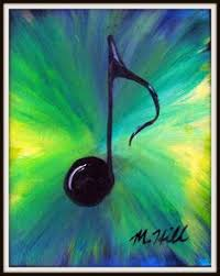 Items Similar To Blue Green Painting Music Note X Canvas Acrylic On Etsy