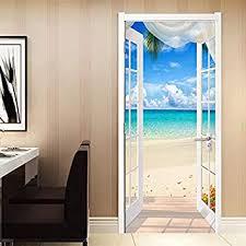 türaufkleber pvc tür aufkleber fenster aufkleber strand landschaft 3d fototapete wandbild schlafzimmer schlafzimmer tür dekoration aufkleber 88