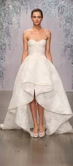 Monique Lhuillier Strapless Sweetheart Lace Wedding Dress With High Low Cascading Skirt