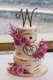 Amber And Evans Wedding Cake Was A Tree Trunk Inspired With Clusters Of Purple Roses