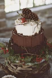 Rustic Winter Woodland Chocolate Wedding Cake