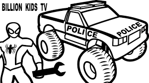 Stunning Idea Monster Truck Coloring Pages Spiderman Repair Police ...