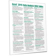 Excel 2013 Tables PivotTables Filters Cheat Sheet Card Beezix