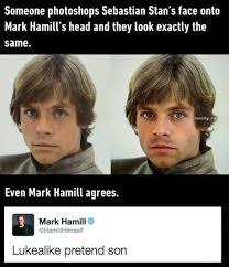 So In Case Youre New Here The Internet Is Convinced Sebastian Stan Aka Bucky Barnes Of Captain America And Mark Hamill Luke Skywalker Star