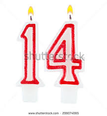 Birthday candles number fourteen isolated on white background