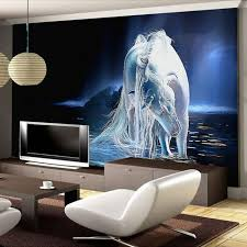 Customized Any Size White Horse Wall Art Painting Photo 3D Mural Wallpaper For Living Room