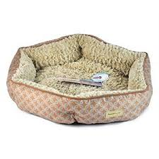 pooch planet plush sidewall pet bed for small dogs cats tan