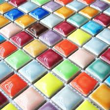 rainbow colorful multi colors ceramic mosaic bathroom shower floor