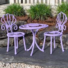 Miniature Fairy Garden Party Table And 2 Chairs Color Choices Purple