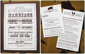 Brown Cream Farm Themed Vintage Poster Style Pocketfold Wedding