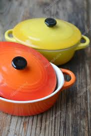 Two Little Colorful Cooking Pots For Julienne Stock Photo