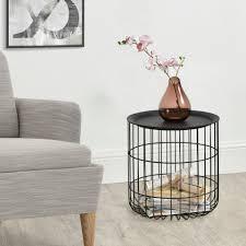 en casa beistelltisch flassin metallkorb wohnzimmertisch mit tablett schwarz 40x40x37cm kaufen otto