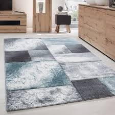 designer teppich abstrakt kariert muster konturenschnitt grau weiß blue größe 80x150 cm