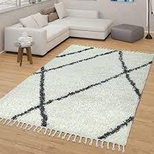 tt home skandi teppich beige wohnzimmer hochflor rauten muster skandinavisches design größe 200x280 cm
