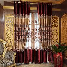 Vintage European Style Red Velvet Faux Silk Embroidery Curtains