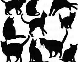 cat silhouette black cat silhouette etsy