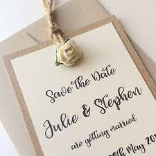 Rustic Style Save The Date Tag Finished With Jute String And A Paper Tea Rose