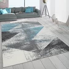 teppich wohnzimmer kurzflor vintage design abstraktes muster pastell türkis grau