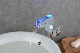 Wall Mounted Led Waterfall Faucet by Bathroom Sink Faucet With Color Changing Led Waterfall Faucet