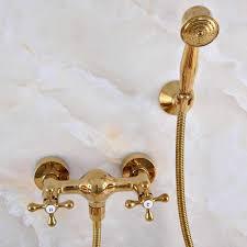 luxus poliert gold farbe messing badezimmer dusche kopf wasserhahn set mischbatterie dual kreuz griffe mna968