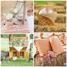 Rustic Wedding Decorations With Antique Gas Lantern Bale Of Hay Seats And Decorated