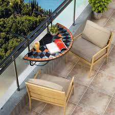 deuba balkonhängetisch klapptisch mosaik balkontisch klappbar hängetisch mosaiktisch gartenmöbel model terracotta