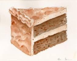 Chocolate Cake Slice by Alicia Severson Original watercolor painting