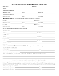 Emergency Contact Forms For Children Child Medical Consent United Kingdom Legal Templates