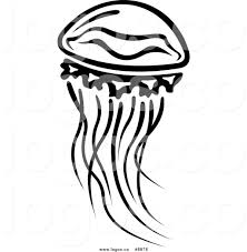 Royalty Free Clip Art Vector Logo of a Black and White Jellyfish Swimming
