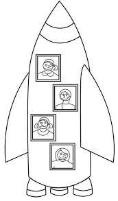 My Family Rocket Ship Vacation Coloring Page