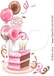 Clipart Illustration of a Slice Birthday Cake With Balloons And Confetti by Gina Jane