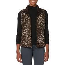 laura scott women u0027s reversible vest leopard pattern
