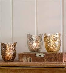 Owl Mercury Glass Votives Set of 3