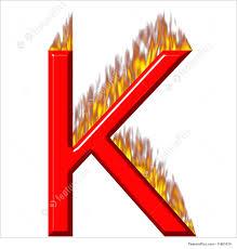 3D Letter K On Fire Illustration