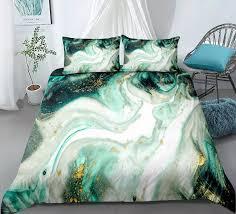 3 stück marmor bettbezug set grün gold luxus marmor bettwäsche weiß marmor abstrakte kunst quilt abdeckung königin bett set dropship
