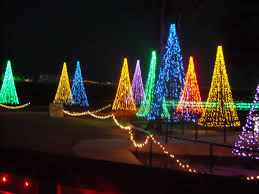 Precious Christmas Tree Made Of Lights Light Strings Out On The Wall Inside Outdoor