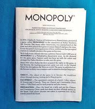 1973 Original Monopoly Board Game Rules Directions Instructions Old Parker Bros