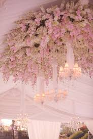 Pink Flower Ceiling Treatments At Reception
