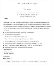Call Center Resume Sample For Job With No Experience
