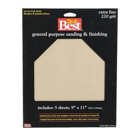 "Do It Best General Purpose Sanding & Finishing - Extra Fine, 220 Grit, 5 Sheets, 9""x11"""