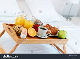 Breakfast Bed Hotel Room Ac modation Stock