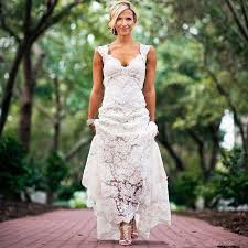 Cap Sleeves V Neck Lace Rustic Wedding Dresses