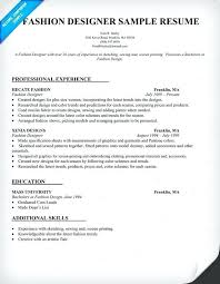 Fashion Designer Resume Sample Buyer